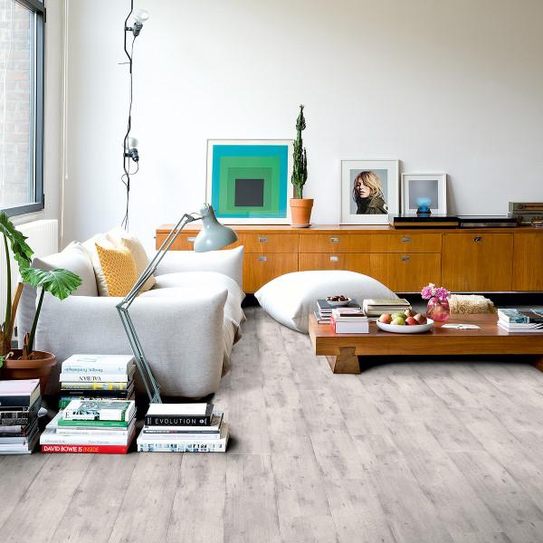 Laminaat grijs plank woonkamer